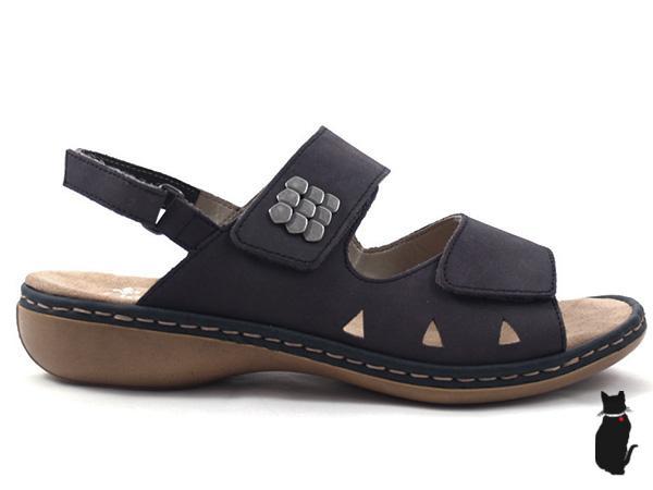 537c7f604ea23 Rieker, dámské tmavě modré sandály s pásky
